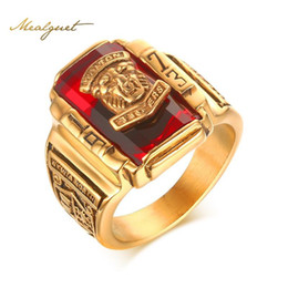 Wholesale Rings Large Stones - Meaeguet Men's Rock Punk Ring Gold Plated Large Red CZ Stone Ring Jewelry 1973 Tigers Head Party Rings For Men