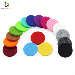 Wholesale wholesale charm lockets - 100pcs lot Colorful Aromatherapy Felt Pads 22.5mm Fit for 30mm Essential Oil Diffuser Perfume Locket Floating Locket LSPA01
