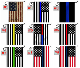 Wholesale Police Flags - us garden flag 30*45CM Blue Line Red Line USA Police Flags 12*18inch Thin Blue red Line USA Flag Black White Blue American Flag