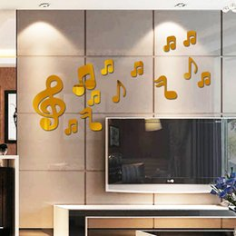 Wholesale Musical Notes Wall Stickers - 3D Musical Note Mirror Wall Stickers DIY Art Decal Removeable Wallpaper Mural Sticker for Living Room Bedroom Musicroom 5 Colors Z108