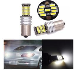 Wholesale P21w Led Error Free - White Led 45SMD 1156 1157 BA15S S25 P21W Canbus Error Free Auto Car Tail Brake Light Bulb Lamps Brake Lights 12V Car Light Source