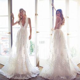 Wholesale Beach White Bohemia Dress - 2017 Bohemia Lace Wedding Dresses Deep V Neck Sleeveless A Line Wedding Gowns Vintage Long Beach Lurelly Newest Plus Size Bridal Dress