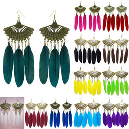 Wholesale Feather Dangle Earrings - Feather Earrings 12 Colors wholesale lots Cute Sector Charm Chain Chandelier Eardrop Hot (Burgundy Purple Sky Blue Green Yellow Red) (JF278)