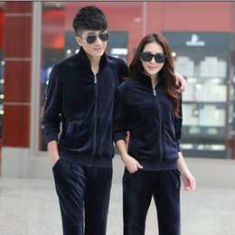 Wholesale Women S Velour Sportswear - Wholesale-(1 set) Mens Velour Tracksuit Set Luxury Survetement Homme Velvet Brand Tracksuits Man's Sportswear Women Tracksuits Suits
