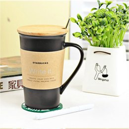 Wholesale Stylish Mug - Wholesale- TT53 Stylish black matt cup with the message with a cover ceramic cup set simple creative Coffee Mug