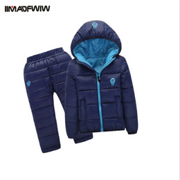 Wholesale Padded Pants Kids - Wholesale- 2PCS set 2016 Winter Kids Baby Girls Boys Clothing Set Children Padded Suits Cotton-padded Jacket+Pants Hooded Warm Suits