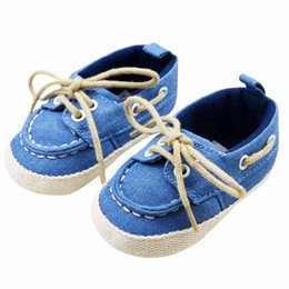 Wholesale baby crib shoe sizes - Wholesale- Baby Boy Girl Blue Sneakers Soft Bottom Crib Shoes Size Newborn to 18 Months