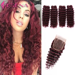 Wholesale Curly Burgundy Hair Extensions - Deep Curly With Closure 7a Brazilian Virgin Hair Extensions Brazilian Weave Bundles Deep Wave Virgin Hair 99j Wave Human Hair