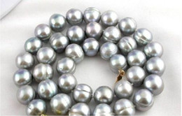 "Wholesale Baroque Tahitian Pearl Necklace - surprising 18"" AAA 12-13mm tahitian baroque gray pearl necklace"