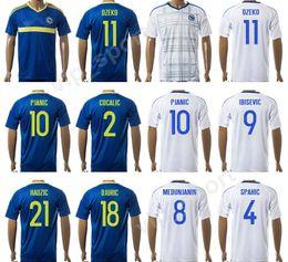 Wholesale Bosnia Herzegovina - 17-18 Bosnia and Herzegovina Jersey Soccer 9 Vedad Ibisevic Football Shirt Custom 10 Miralem Pjanic 8 Haris Medunjanin 11 Edin Dzeko Spahic