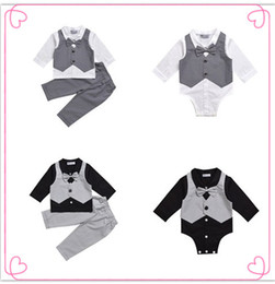 Wholesale Baby Boy Formal Romper - Mikrdoo Hot Baby Boy Clothes Suit Vest+Bow Shirt Romper+Pants Fake 2 Pieces Suits Formal Gentleman Cotton Wedding Clothing Top Set Age 0-2 T