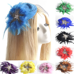 Wholesale Top Hair China - 9pcs lot gift handmade ladies headwear bridal wedding party proms hens accessory mini top hat cap feather fascinator hair clip wholesale