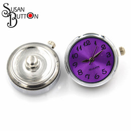 Wholesale Jewelry Ring Watch - 10pcs purple watch snap buttons fit snap button Bracelet necklace 18MM alloy Snap ginger button jewelry SJSB017