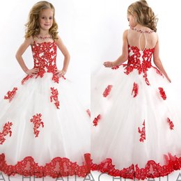 Wholesale Girls Dress Red White - 2017 New Princess Little Girls Pageant Dresses Red White Tulle Ball Gown Beaded Lace Applique Princess Flower Girl Dress Kids Prom Dresses