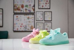 Wholesale Hard Candy Bows - Womens Rihanna Basket Heart Suede Pink Bandana Bow Creeper Sneakers Fashion Girls Riri Casual Candy Color Yellow Sky Blue Shoes 36-39