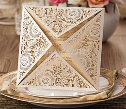 Wholesale Sample Wedding Envelope - Wholesale- Free Shipping White Wedding Invitation Card Sample Engagement Invitation Folded Card Party Invitations With Free Envelope & Se