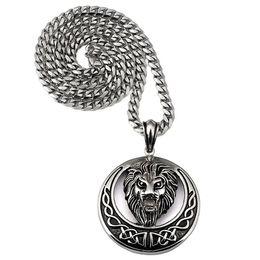 Wholesale Necklace Moon Men - Charm Women Men Bling Titanium Steel Moon Disc Lion Head Pendants 18K Gold Plated King Crown Necklaces Rock Jewelry Gifts Chain