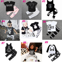 Wholesale Kids Long Sleeve Tee Shirts - 2017 INS Baby Cotton Long Sleeve T Shirts Sleeveless Shirts + Pants Toddler Clothing Sets Kids Letter Tees