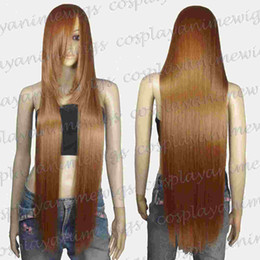Wholesale Long Light Blue Wigs - 100cm Light Brown Heat Styleable long Cosplay Wigs 85_LLB