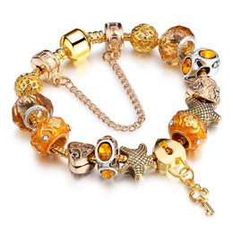 Wholesale European Key Ring Chain - DIY Gold Plated Bracelet Lock and Key Pendant European Charms Bracelet for Lady Fashion HandmadeJewelry AA84