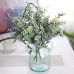 Wholesale Real Touch Flower Arrangement - HOT SELLING! 5pcs lot hairy eucalyptus green grass plant,real touching home decoration flower arrangement accessory