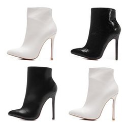 Wholesale Womens Fashion Winter Boots - 2017 New Luxury Black Genuine Leather Pointed Toes Ankle Boots Womens Boots Designer Sexy Ladies Red Bottom High Heels Shoes Pumps 12cm