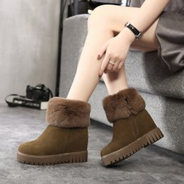 Wholesale Soles Short Woman - Winter snow boots female short cashmere boots in the barrel with thickened thick soled boots in rabbit anti slip shoes