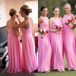 Wholesale Dress Line Floor Lenght - 2017 Pink Long Bridesmaid Dress Sheer Bateau Neck Sleeveless Lace Top Chiffon Skirt Floor Lenght Country Bridesmaids Dresses Wedding Party