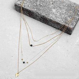 Wholesale Heart Wood Pendants Jewelry - Multilayer Fashion Wood Geometric Faux Stone Gold Leaf Pendant Long Necklace For Ladies Jewelry Accessories Collar Chain