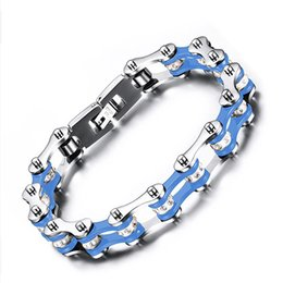 Wholesale Accessories For Motorbikes - Hot Sale Custom Jewelry 10mm Huge Heavy Cycling Bracelet For Men Women Silver Blue Motorbike Band Bangles Rock Punk Mens Bikers Accessory