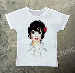 Wholesale flowers sketches - Track Ship+New Vintage Retro T-shirt Top Tee Sketch Drawing Young Short Hair Girl Red Flower 1349