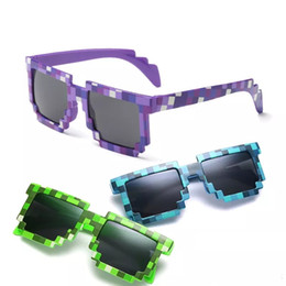 Wholesale Pixel Sunglasses Men - Deal with it Boys Girls Mine craft Glasses 8 bit Pixel kids Sunglasses Mosaic Sun Glasses kids Glasses for party beach vacation