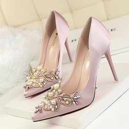 Wholesale Shoes Wedges Formal - Elegant Lady Dress Shoes Sexy Women PU Leather High Heels Festival Party Wedding Shoes Bead Formal Pumps W16S191