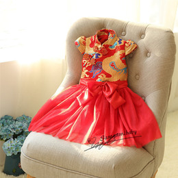 Wholesale Chinese Tutu Dress For Girls - Retail Girls Dress New Year Chinese Style Dragon Red Dress for Baby Girl Princess Party Dress Kids New Year Gift Children Clothing