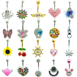 Wholesale Design Mixed Stainless Steel Rings - Mix Sale Belly Button Rings Mix Design 316L Stainless Steel Bar Navel Rings Body Piercing Jewelry