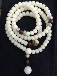 Wholesale Male Female Beaded Bracelets - White jade lotus bodhi beads hand string Bodhi child bracelet circle lobular rosewood deserve to act the role of female male