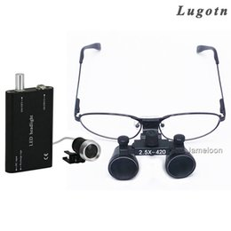 Wholesale dental loupe lights - 2.5X magnifying dental surgical operation loupe with LED light headlamp myope nearsighted glasses oral dentist medical magnifier