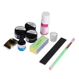 Wholesale Glitter Nail Clippers - Wholesale- 10Acrylic Nail Art Tips Powder Liquid Brush Glitter Clipper Primer File Set Kit Then apply them onto your nail   nail forms Anne