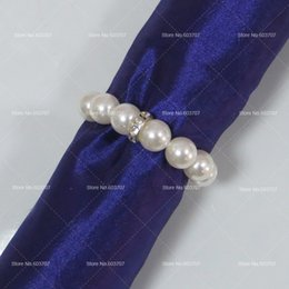 Wholesale Elastic Pearl Ring - Wholesale-100pcs Imitation Pearl Napkin Rings With Elastic For Wedding And Hotel With Diamond Soft Decoration For Napkin Rings