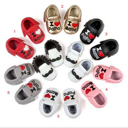 Wholesale I Baby - 6 colors new arrivals soft sole PU leather baby first walker shoes newborn shoes maccasions princess I love PAPA Letters tassel shoes