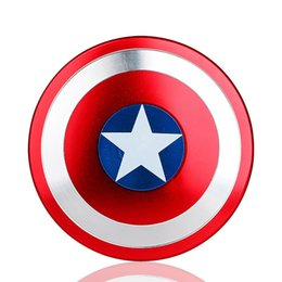 Wholesale Beyblade Toys Wholesale - Free Shipping Super Heroes Fidget Spinner America Captain Shield Marvel Finger Spinner AL Alloy Metal Toy Tri Hand Spinners Puzzle beyblade