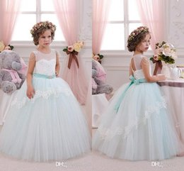 Wholesale Pretty Pictures Flowers - 2017 New Pretty Mint Ivory Lace Tulle Flower Girl Dresses Birthday Wedding Party First Communion Dresses for Girls Cheap BA3107