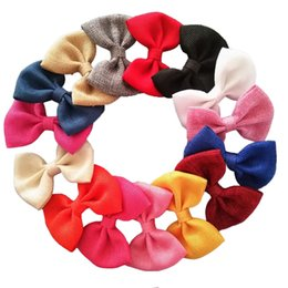 Wholesale Clip Bow Ties Wholesale - Large 4 Inch Burlap Hair Bows Fashion Hair Clips ,Fabric Bow Tie ,Girl 'S Kid 'S Bow Clips Hair Accessory 16 Color 20 Pcs  Lot