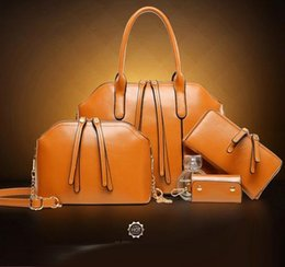 Wholesale Cheap Brown Leather Tote Bags - New Designer Women 4PCS Set Fashion Bags Ladies Handbag Sets Leather Shoulder Office Tote Bag Cheap Womens Shell Handbags Sale Hand bag
