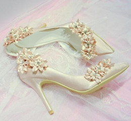 Wholesale pump photos - elegant bridal champagne flower high heel wedding shoes Side empty pointed toe flower high heel wedding bridal shoes real photos