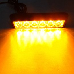 Luces ámbar de advertencia de camiones online-Luz amarilla del carro del coche 6 LED Amber Beacon Emergency Lamp Hazard Strobe Warning