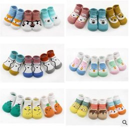 Wholesale Kids Rubber Socks - Newborn Socks Fox Bear Anti Animal Slip Baby Sock With Rubber Soles Baby Clothes Fruit Floor Glue Kids Socks 8 Styles Free Shippin