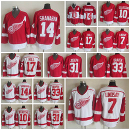 Wholesale Blue Joseph - Throwback Detroit Red Wings 10 Alex Delvecchio 7 Ted Lindsay 31 Curtis Joseph 33 Kris Draper 14 Brendan Shanahan 17 Hull Ice Hockey Jersey