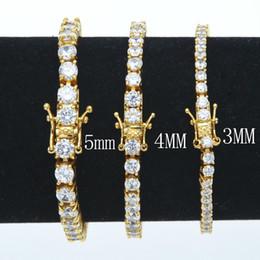 bracelete de ouro de 5mm Desconto 3mm 4mm 5mm 6mm 7/8 polegada homens zircão pulseira cadeia de tênis de prata de ouro de cobre 1 linha cz cadeia de hip hop pulseira