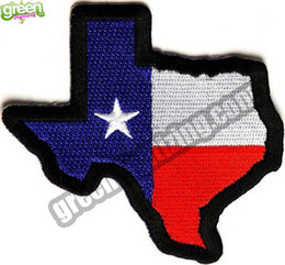 Commercio all'ingrosso Texas State Map Bandiera del Texas ricamato Patch ferro sul bracciale distintivo esercito tattico militare Biker Patch fai da te Applique accessorio Patch da
